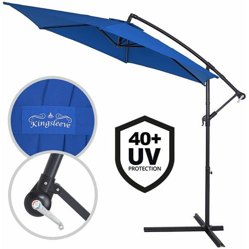 Sonnenschirm Ø330cm UV Schutz 40+ Ampelschirm Marktschirm Gartenschirm Kurbel blau
