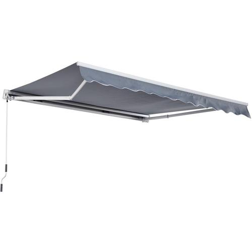 Outsunny® Markise Alu-Markise Aluminium-Gelenkarm-Markise 3x4m Sonnenschutz Balkon Grau - grau