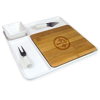 NFL Pittsburgh Steelers Homegating Peninsula Serving Tray with Cutting Board and Cheese Tools