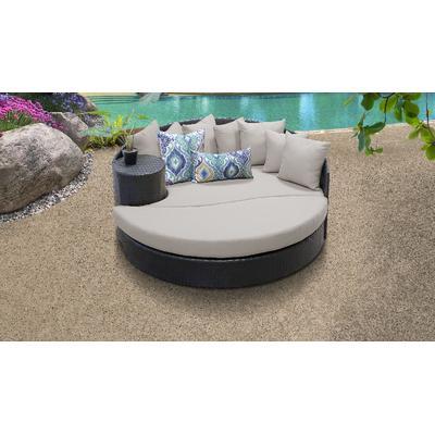 Barbados Circular Sun Bed - Outdoor Wicker Patio Furniture in Beige - TK Classics Barbados-Sun-Bed-Beige
