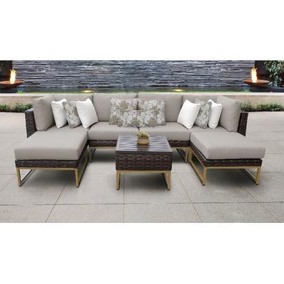 Amalfi 7 Piece Outdoor Wicker Patio Furniture Set 07a in Beige - TK Classics Amalfi-07A-Gld-Beige