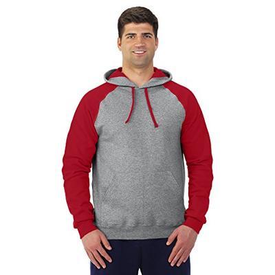 Jerzees mens 8 oz. 50/50 NuBlend Colorblock Raglan Pullover Hood(96CR)-OXFORD/TRUE RED-S