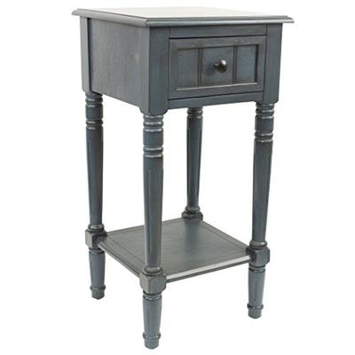 Décor Therapy FR1548 Simplify One Drawer Square Accent Table Antique Navy
