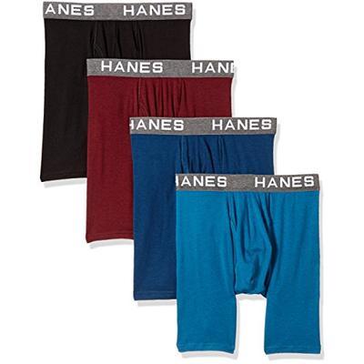 Hanes Ultimate Men's Comfort Flex Fit Ultra Soft Cotton Modal Blend Boxer Brief 4-Pack, Assorted Med
