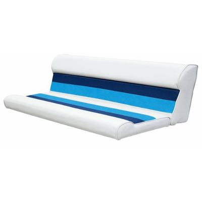 Wise 55-Inch Cushion Only Pontoon Bench Seat, White/Navy/Blue