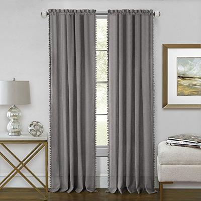"Achim Home Furnishings Achim Home Imports Wallace Rod Pocket Window Curtain Panel 52"" x 64"", Grey"